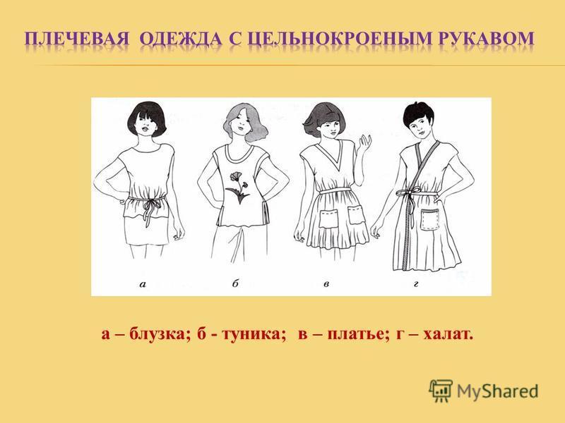 а – блузка; б - туника; в – платье; г – халат.