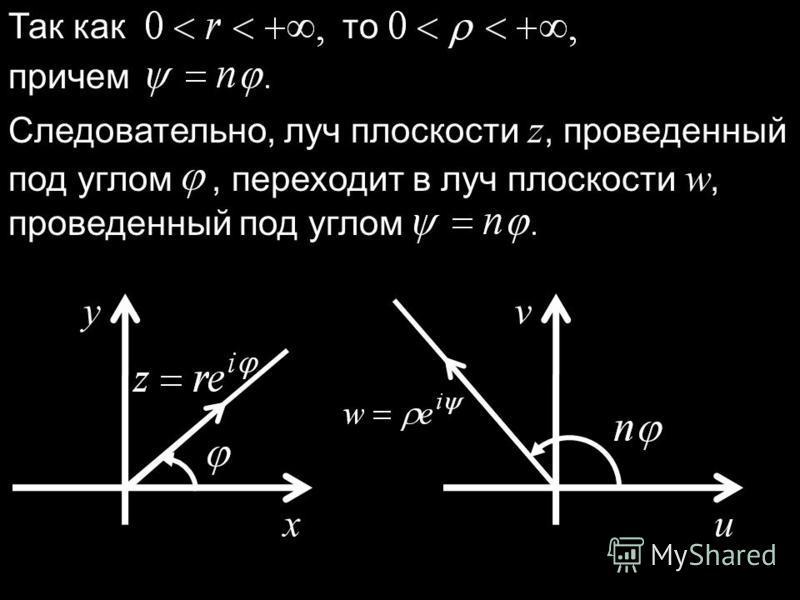 Так как то причем Следовательно, луч плоскости z, проведенный под углом, переходит в луч плоскости w, проведенный под углом x y u v