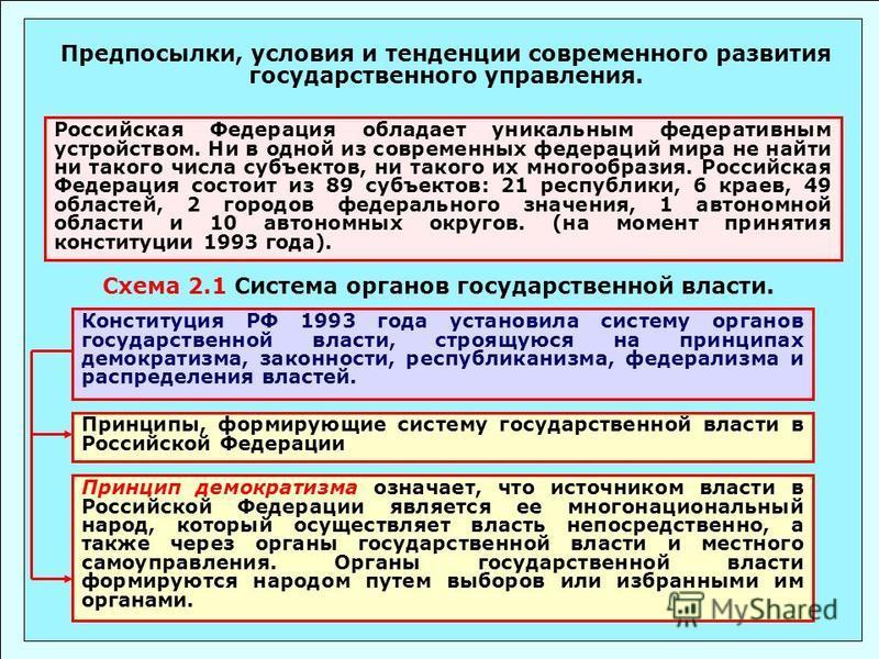 Принцип демократизма означает, что источником власти в Российской Федерации является ее многонациональный народ, который осуществляет власть непосредственно, а также через органы государственной власти и местного самоуправления. Органы государственно