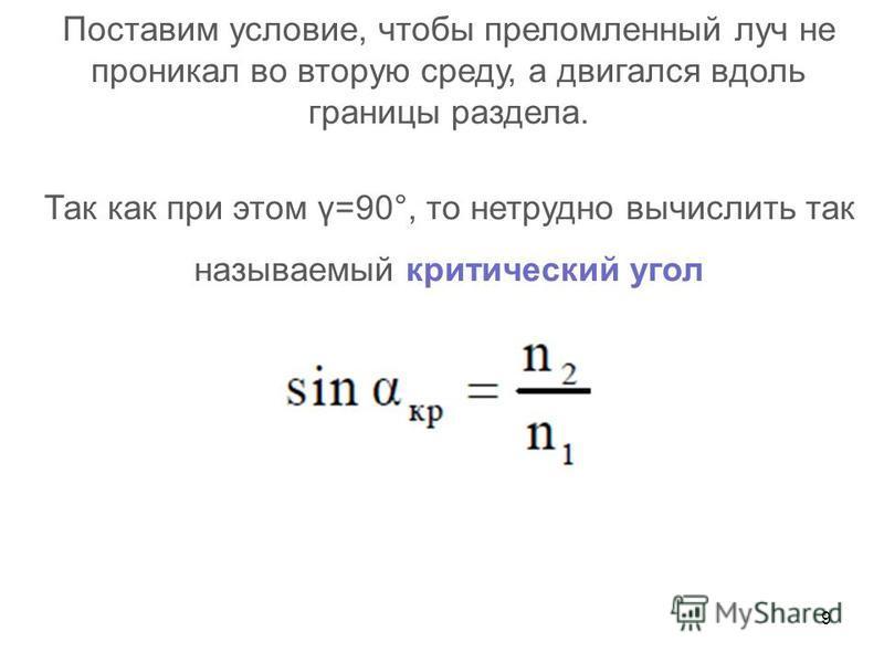 9 Поставим условие, чтобы преломленный луч не проникал во вторую среду, а двигался вдоль границы раздела. Так как при этом γ=90°, то нетрудно вычислить так называемый критический угол