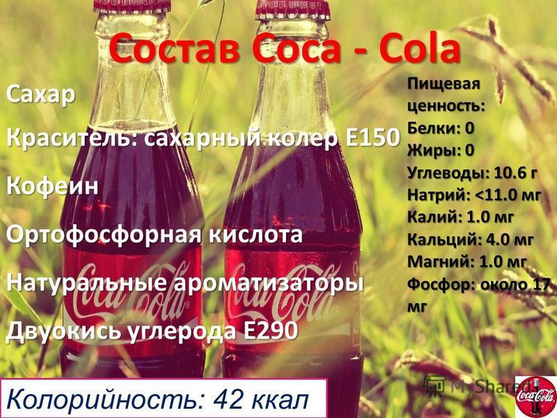 Состав Coca - Cola Ортофосфорная кислота Краситель: сахарный колер Е150 Кофеин Натуральные ароматизаторы Сахар Двуокись углерода Е290 Пищевая ценность: Белки: 0 Жиры: 0 Углеводы: 10.6 г Натрий: <11.0 мг Калий: 1.0 мг Кальций: 4.0 мг Магний: 1.0 мг Фо