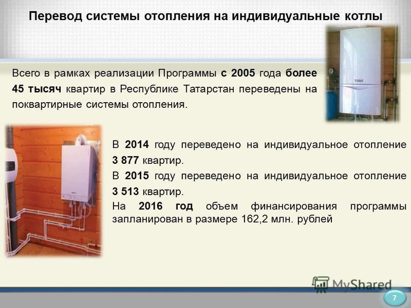 Перевод системы отопления на индивидуальные котлы Всего в рамках реализации Программы с 2005 года более 45 тысяч квартир в Республике Татарстан переведены на поквартирные системы отопления. В 2014 году переведено на индивидуальное отопление 3 877 ква