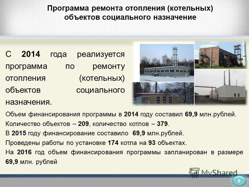 Программа ремонта отопления (котельных) объектов социального назначение Объем финансирования программы в 2014 году составил 69,9 млн.рублей. Количество объектов – 209, количество котлов – 379. В 2015 году финансирование составило 69,9 млн.рублей. Про