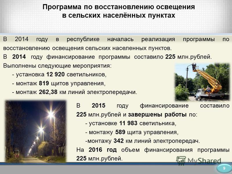 Программа по восстановлению освещения в сельских населённых пунктах В 2014 году в республике началась реализация программы по восстановлению освещения сельских населенных пунктов. В 2014 году финансирование программы составило 225 млн.рублей. Выполне