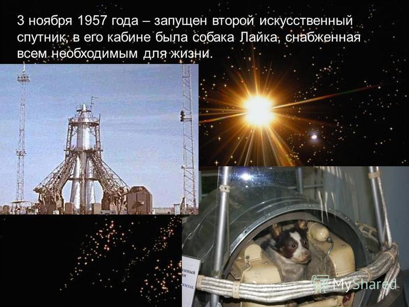 3 ноября 1957 года – запущен второй искусственный спутник, в его кабине была собака Лайка, снабженная всем необходимым для жизни.