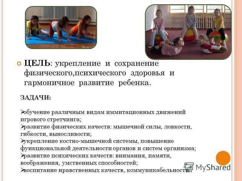 ЦЕЛЬ : укрепление и сохранение физического,психического здоровья и гармоничное развитие ребенка. ЗАДАЧИ: обучение различным видам имитационных движений игрового стретчинга; развитие физических качеств: мышечной силы, ловкости, гибкости, выносливости;