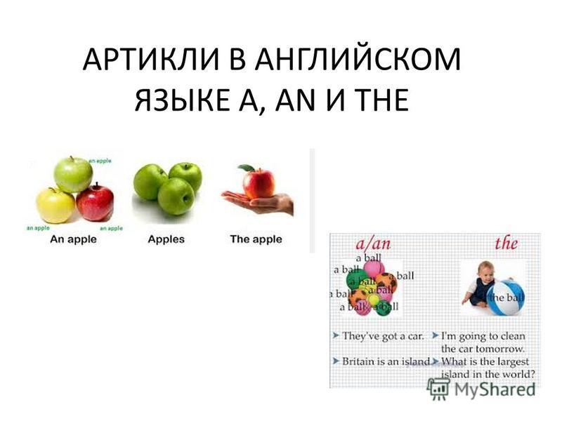 АРТИКЛИ В АНГЛИЙСКОМ ЯЗЫКЕ A, AN И THE