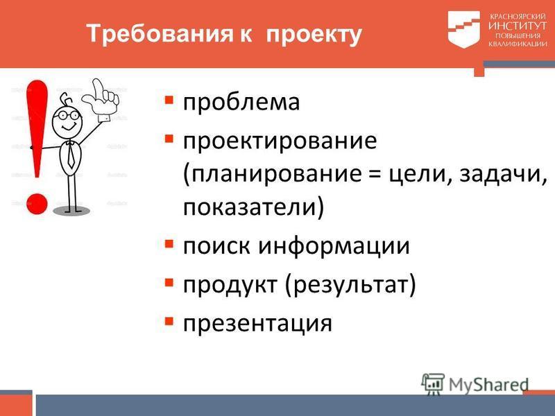 Требования к проекту проблема проектирование (планирование = цели, задачи, показатели) поиск информации продукт (результат) презентация