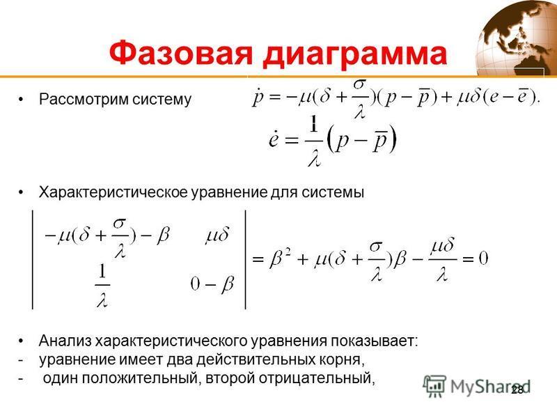 28 Рассмотрим систему Характеристическое уравнение для системы Анализ характеристического уравнения показывает: -уравнение имеет два действительных корня, - один положительный, второй отрицательный, Фазовая диаграмма