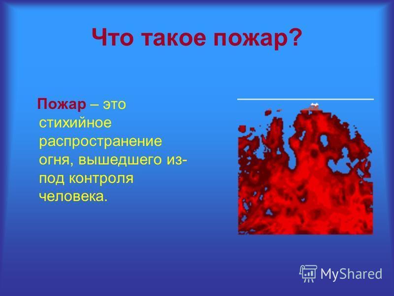 Что такое пожар? Пожар – это стихийное распространение огня, вышедшего из- под контроля человека.