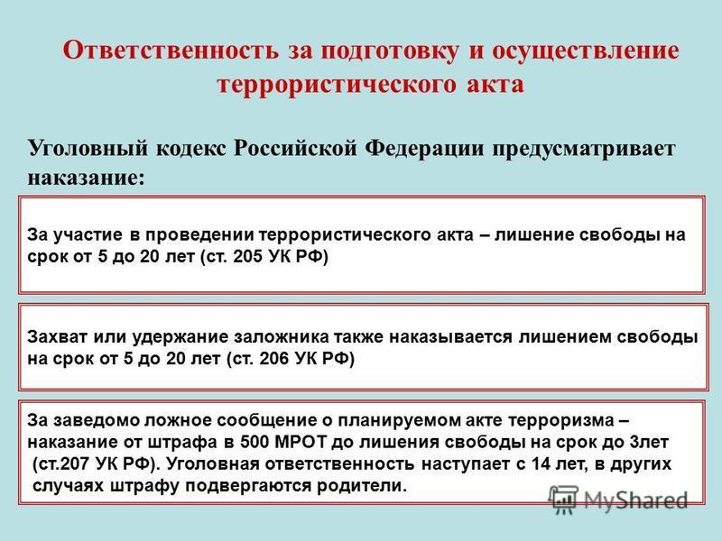 Ответственность за подготовку и осуществление террористического акта Уголовный кодекс Российской Федерации предусматривает наказание: За участие в проведении террористического акта – лишение свободы на срок от 5 до 20 лет (ст. 205 УК РФ) Захват или у