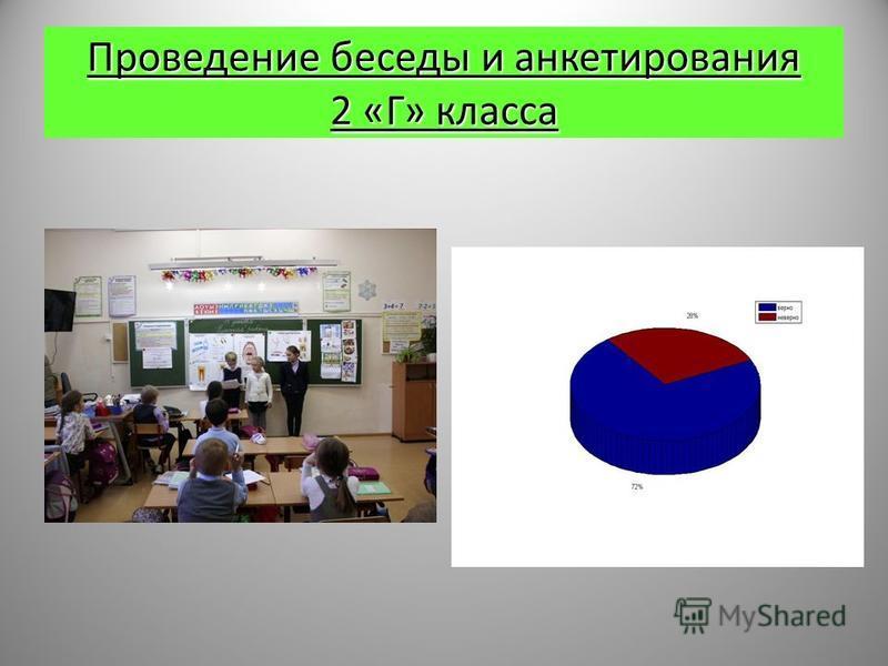 Проведение беседы и анкетирования 2 «Г» класса