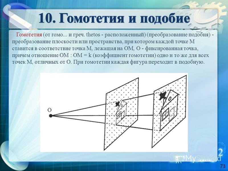 Гомотетия (от гомо... и греч. thetos - расположенный) (преобразование подобия) - преобразование плоскости или пространства, при котором каждой точке М ставится в соответствие точка М, лежащая на ОМ, О - фиксированная точка, причем отношение ОМ : ОМ =