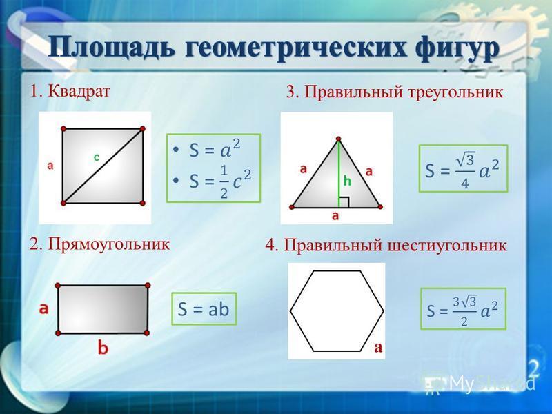 1. Квадрат 2. Прямоугольник S = ab 3. Правильный треугольник 4. Правильный шестиугольник а