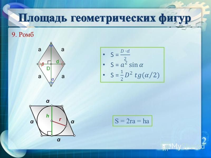 9. Ромб S = 2ra = ha