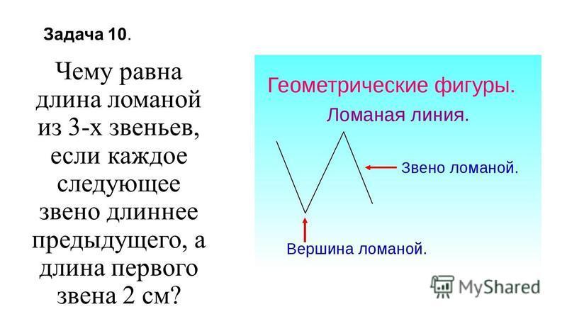 Задача 10. Чему равна длина ломаной из 3-х звеньев, если каждое следующее звено длиннее предыдущего, а длина первого звена 2 см?