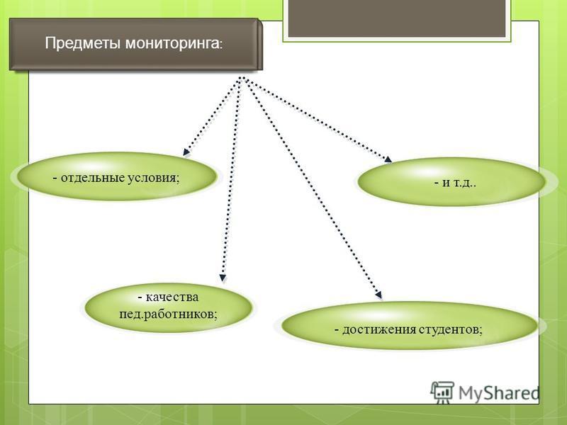 Предметы мониторинга : - качества пед.работников; - достижения студентов; - отдельные условия; - и т.д..