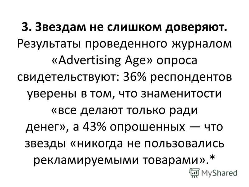 3. Звездам не слишком доверяют. Результаты проведенного журналом «Advertising Age» опроса свидетельствуют: 36% респондентов уверены в том, что знаменитости «все делают только ради денег», а 43% опрошенных что звезды «никогда не пользовались рекламиру