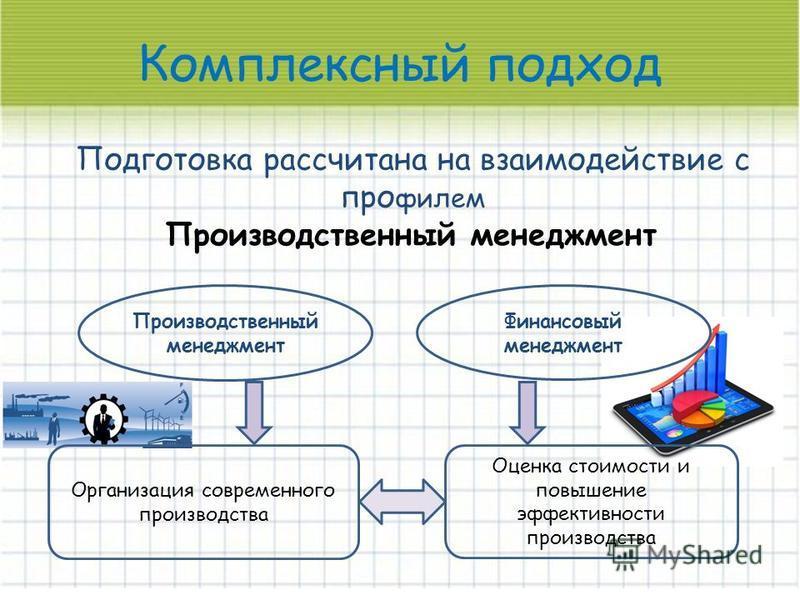 Комплексный подход Подготовка рассчитана на взаимодействие с профилем Производственный менеджмент Организация современного производства Финансовый менеджмент Оценка стоимости и повышение эффективности производства