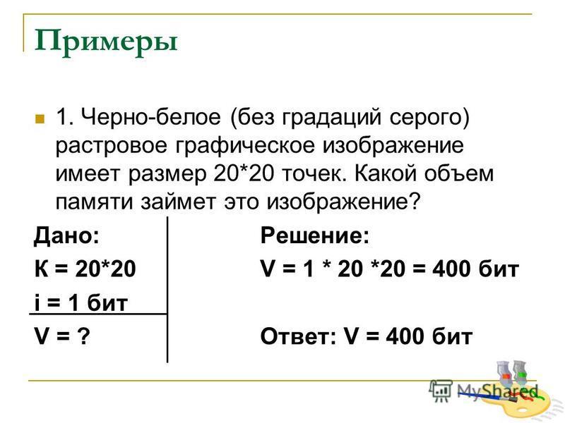 Примеры 1. Черно-белое (без градаций серого) растровое графическое изображение имеет размер 20*20 точек. Какой объем памяти займет это изображение? Дано:Решение: К = 20*20 V = 1 * 20 *20 = 400 бит i = 1 бит V = ?Ответ: V = 400 бит