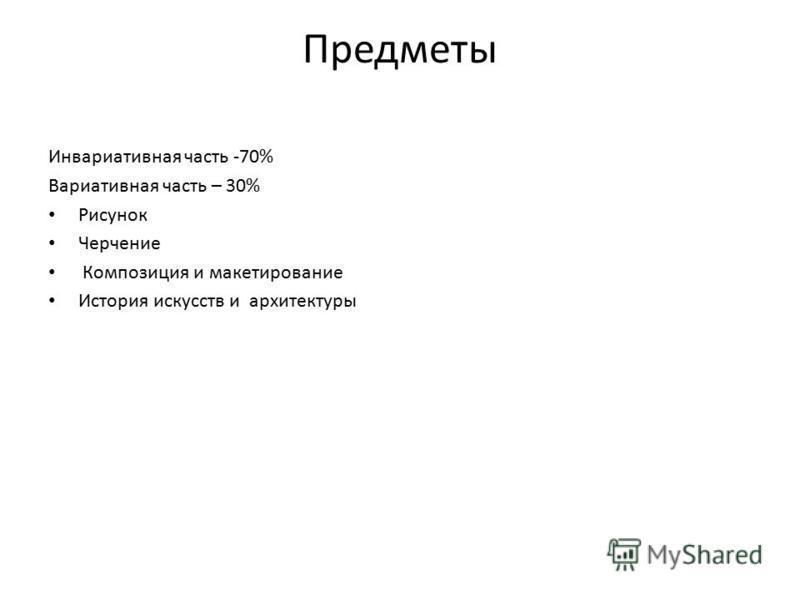 Предметы Инвариативная часть -70% Вариативная часть – 30% Рисунок Черчение Композиция и макетирование История искусств и архитектуры