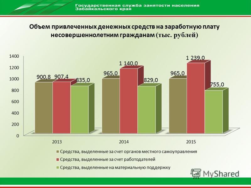 Объем привлеченных денежных средств на заработную плату несовершеннолетним гражданам (тыс. рублей)