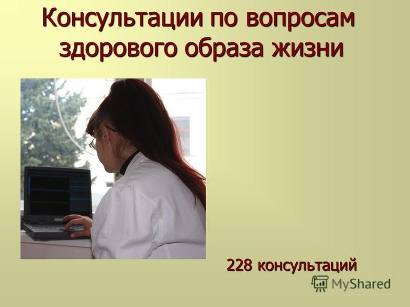 Консультации по вопросам здорового образа жизни Консультации по вопросам здорового образа жизни 228 консультаций