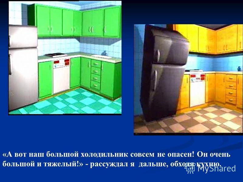 «А вот наш большой холодильник совсем не опасен! Он очень большой и тяжелый!» - рассуждал я дальше, обходя кухню.