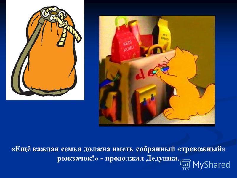 «Ещё каждая семья должна иметь собранный «тревожный» рюкзачок!» - продолжал Дедушка.