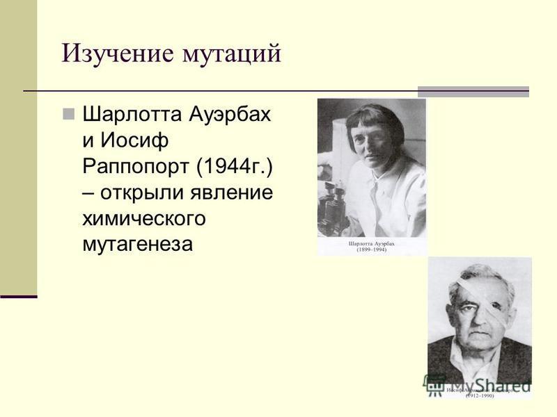 Изучение мутаций Шарлотта Ауэрбах и Иосиф Раппопорт (1944 г.) – открыли явление химического мутагенеза