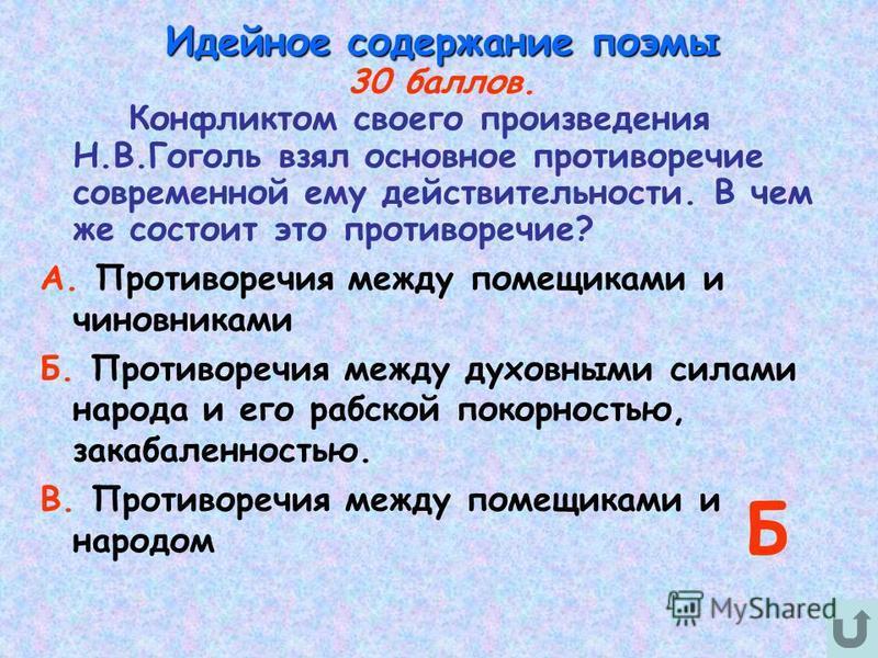 Идейное содержание поэмы 30 баллов. Конфликтом своего произведения Н.В.Гоголь взял основное противоречие современной ему действительности. В чем же состоит это противоречие? А. Противоречия между помещиками и чиновниками Б. Противоречия между духовны