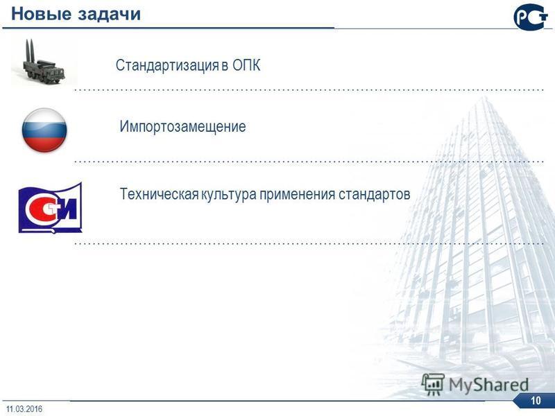 Новые задачи Стандартизация в ОПК Импортозамещение Техническая культура применения стандартов 10 11.03.2016
