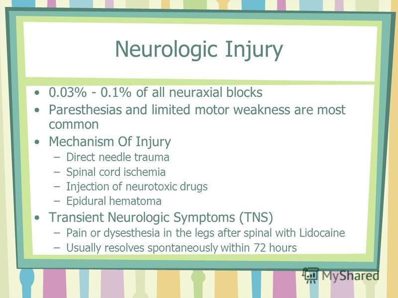 Neurologic Injury 0.03% - 0.1% of all neuraxial blocks Paresthesias and limited motor weakness are most common Mechanism Of Injury –Direct needle trauma –Spinal cord ischemia –Injection of neurotoxic drugs –Epidural hematoma Transient Neurologic Symp