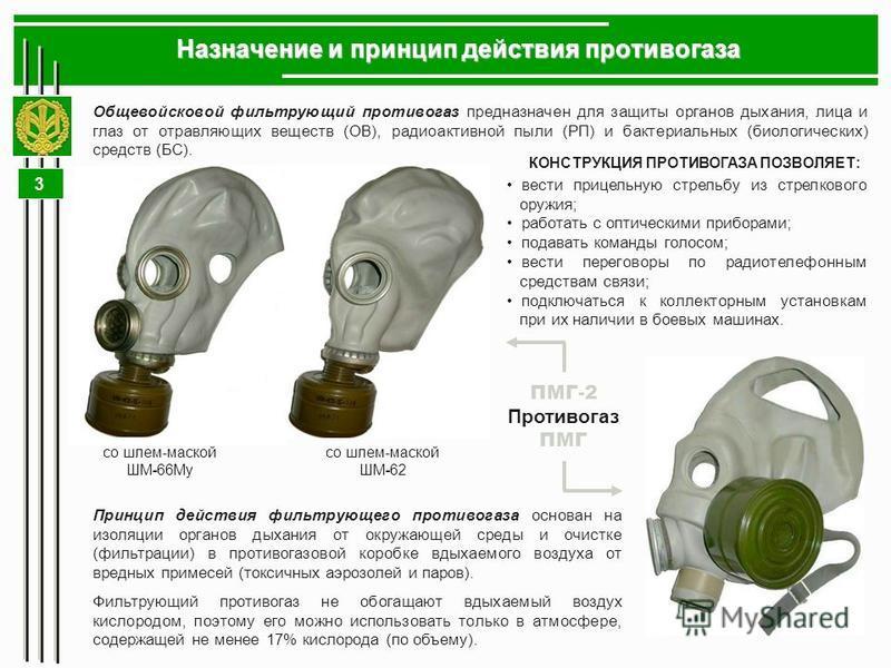 3 Общевойсковой фильтрующий противогаз предназначен для защиты органов дыхания, лица и глаз от отравляющих веществ (ОВ), радиоактивной пыли (РП) и бактериальных (биологических) средств (БС). Назначение и принцип действия противогаза со шлем-маской ШМ