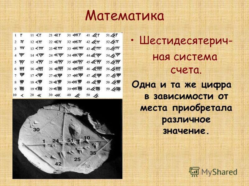 Математика Шестидесятерич- ная система счета. Одна и та же цифра в зависимости от места приобретала различное значение.