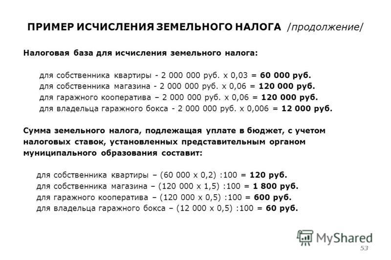 53 ПРИМЕР ИСЧИСЛЕНИЯ ЗЕМЕЛЬНОГО НАЛОГА /продолжение/ Налоговая база для исчисления земельного налога: для собственника квартиры - 2 000 000 руб. х 0,03 = 60 000 руб. для собственника магазина - 2 000 000 руб. х 0,06 = 120 000 руб. для гаражного коопе