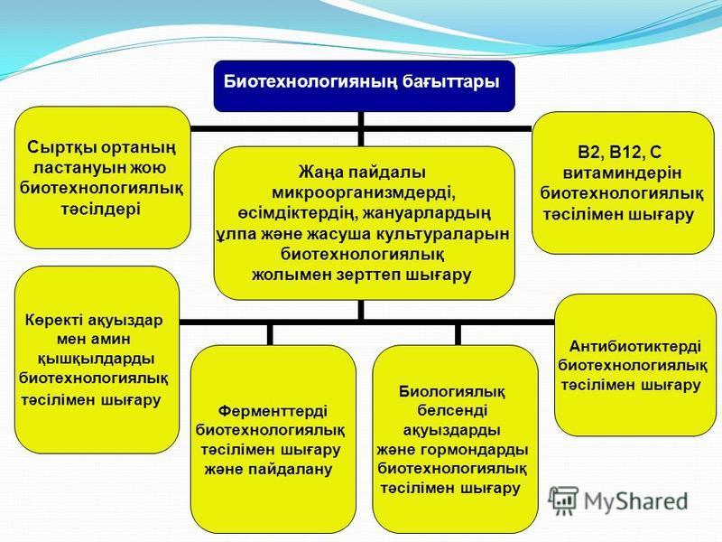 Биотехнологияның бағыттары Сыртқы органың ластануын жою биотехнологиялық тәсілдері В2, В12, С витаминдерін биотехнологиялық тәсілімен шығару Көректі ақуыздар мен амин қышқылдарды биотехнологиялық тәсілімен шығару Ферменттерді биотехнологиялық тәсілім