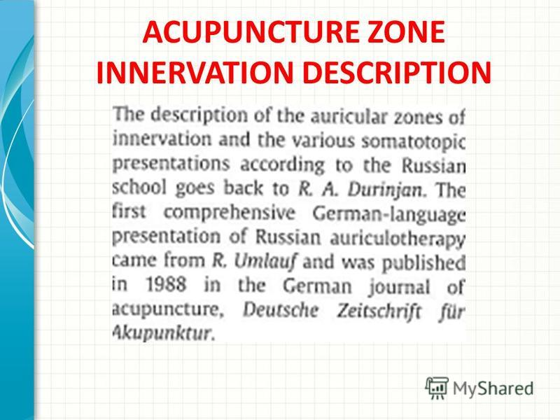 ACUPUNCTURE ZONE INNERVATION DESCRIPTION