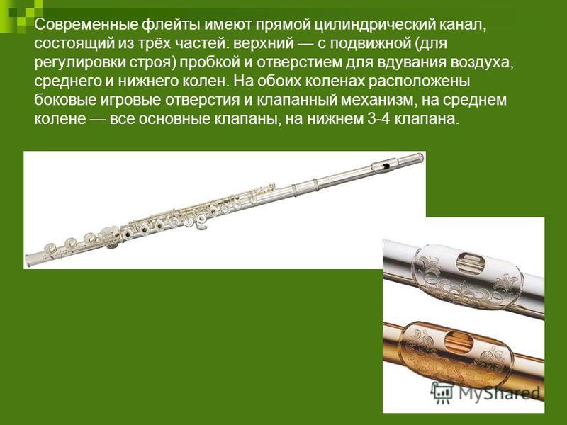 Современные флейты имеют прямой цилиндрический канал, состоящий из трёх частей: верхний с подвижной (для регулировки строя) пробкой и отверстием для вдувания воздуха, среднего и нижнего колен. На обоих коленах расположены боковые игровые отверстия и