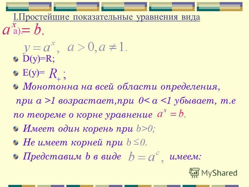 I.Простейшие показательные уравнения вида а). D(у)=R; Е(у)= Монотонна на всей области определения, при a >1 возрастает,при 0< a <1 убывает, т.е по теореме о корне уравнение Имеет один корень при b>0; Не имеет корней при b 0. Представим b в виде имеем