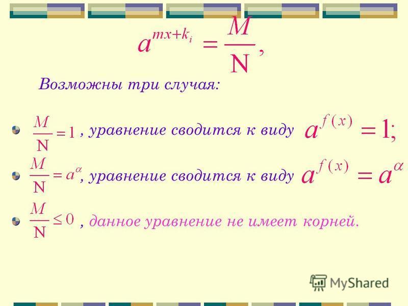 Возможны три случая:, уравнение сводится к виду, данное уравнение не имеет корней.