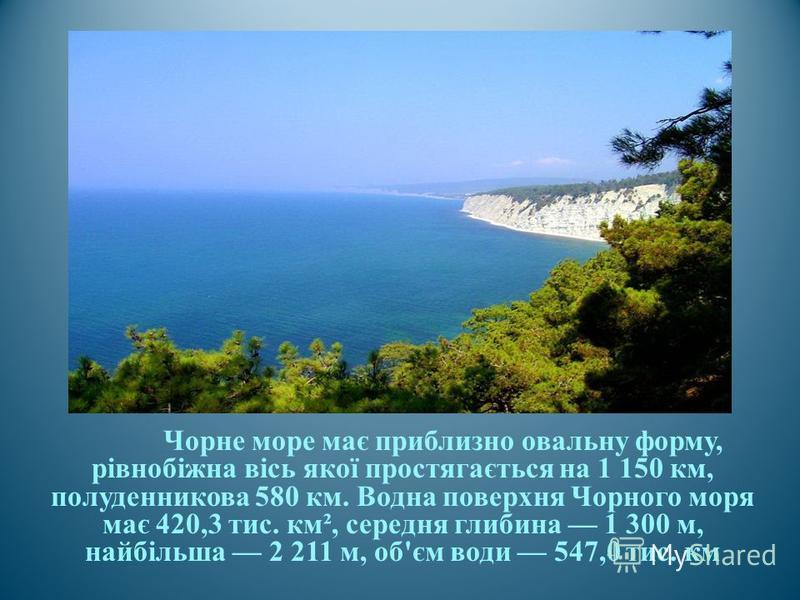 Чорне море має приблизно овальну форму, рівнобіжна вісь якої простягається на 1 150 км, полуденникова 580 км. Водна поверхня Чорного моря має 420,3 тис. км ², середня глибина 1 300 м, найбільша 2 211 м, об ' єм води 547,0 тис. км