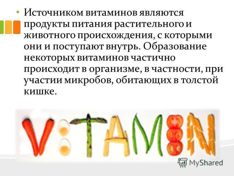 Источником витаминов являются продукты питания растительного и животного происхождения, с которыми они и поступают внутрь. Образование некоторых витаминов частично происходит в организме, в частности, при участии микробов, обитающих в толстой кишке.