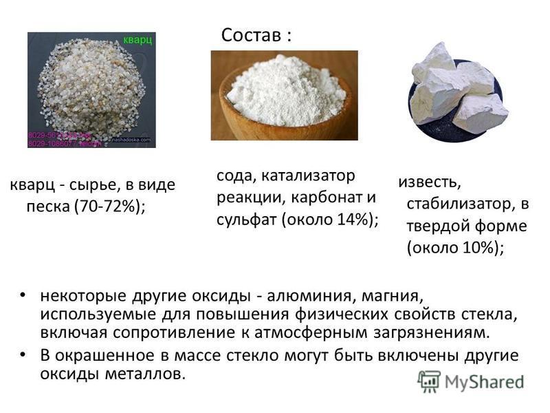 некоторые другие оксиды - алюминия, магния, используемые для повышения физических свойств стекла, включая сопротивление к атмосферным загрязнениям. В окрашенное в массе стекло могут быть включены другие оксиды металлов. Состав : кварц - сырье, в виде