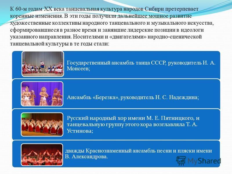 К 60-м годам XX века танцевальная культура народов Сибири претерпевает коренные изменения. В эти годы получили дальнейшее мощное развитие художественные коллективы народного танцевального и музыкального искусства, сформировавшиеся в разное время и за