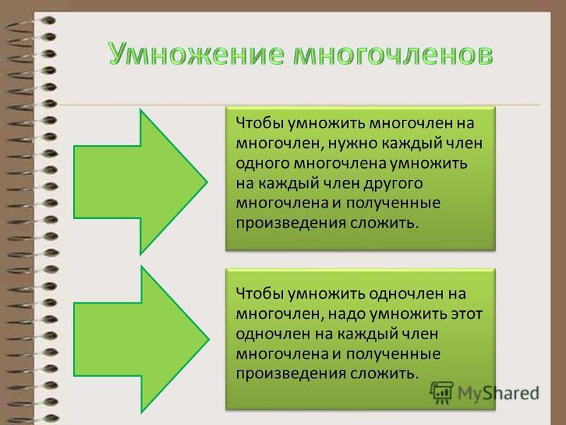 Чтобы умножить многочлен на многочлен, нужно каждый член одного многочлена умножить на каждый член другого многочлена и полученные произведения сложить. Чтобы умножить одночлен на многочлен, надо умножить этот одночлен на каждый член многочлена и пол
