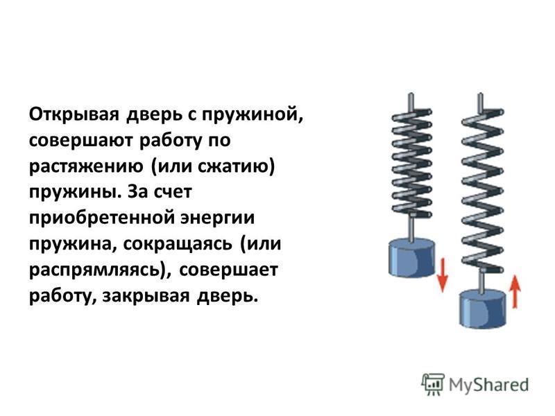 Открывая дверь с пружиной, совершают работу по растяжению (или сжатию) пружины. За счет приобретенной энергии пружина, сокращаясь (или распрямляясь), совершает работу, закрывая дверь.
