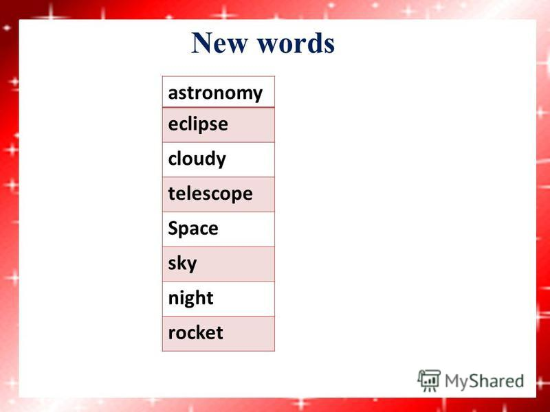 New words astronomy eclipse cloudy telescope Space sky night rocket