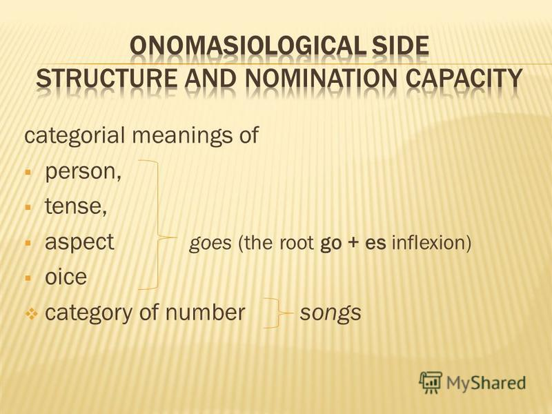 categorial meanings of person, tense, aspect goes (the root go + es inflexion) oice category of number songs