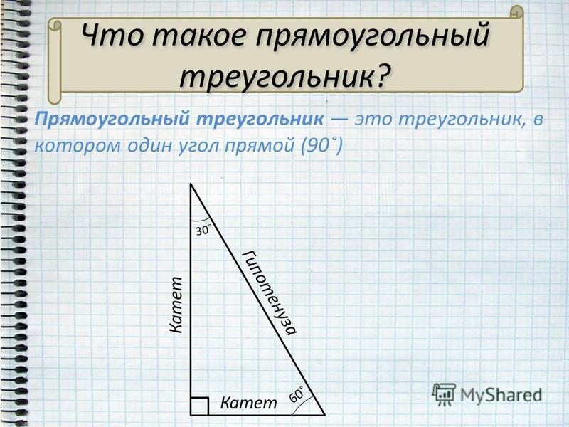 Что такое прямоугольный треугольник? Прямоугольный треугольник это треугольник, в котором один угол прямой (90˚) Гипотенуза Катет 60˚ 30˚